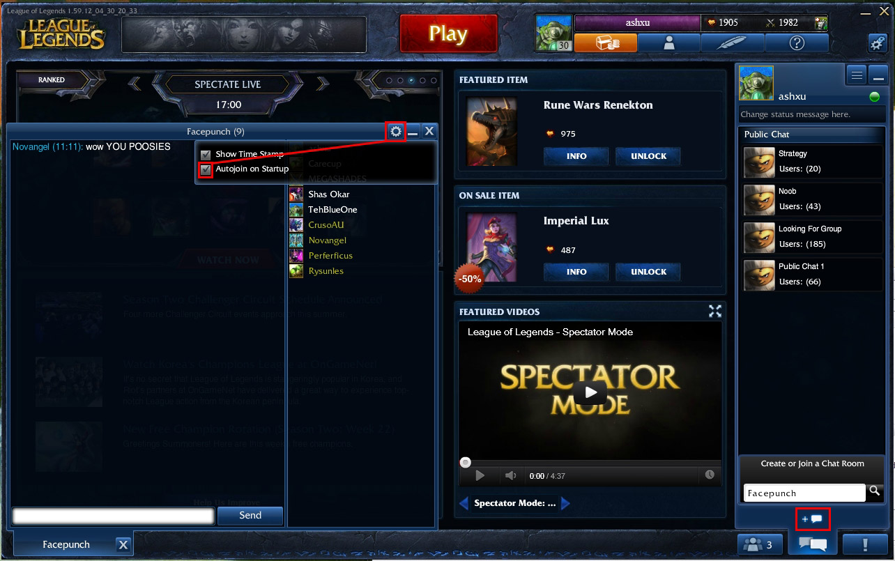League Of Legends Noob Chat Room