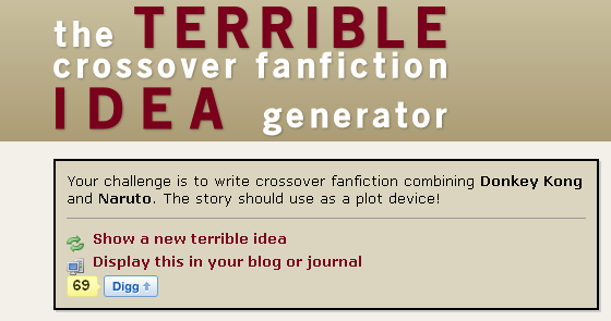 The TERRIBLE crossover fanfiction idea generator! - General
